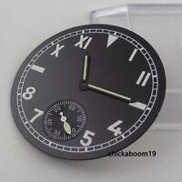 38.9MM Black Watch Dial Arabic Numerals+Luminous Pointer Fit ETA 6498 Movement