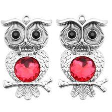 4pcs New Zinc Alloy Red Resin Rhinestone Black Eye Owl Animal Charms Pendants L