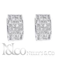 18K White Gold 2.00ct Diamond Huggie Ladies Earrings