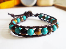 Turquoise bracelets,Leather bracelets,women bracelets,Blue bracelets,Mens