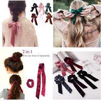 2in1 Women Velvet Ribbon Bow Hair Band Scrunchie Ponytail Elastic Hair Ring Rope