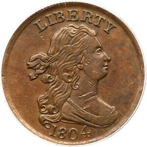 1804 C-1 R-3 ICG AU 55 Details Draped Bust Half Cent Coin 1/2c