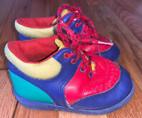 VTG Dyna Kids Dinosaur Colorblock Mid Top Sneakers Shoes Toddler Size 7 Red Blue