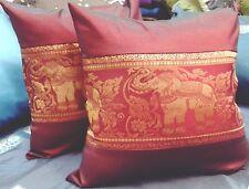 2x Pillow Case Silk Thai Elephants Sofa Car Vintage Gold Brown Cushion Cover New