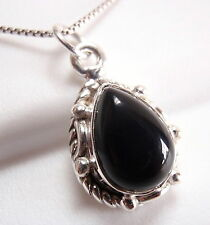 Small Black Onyx Necklace 925 Sterling Silver Rope Style Decor on Sides New