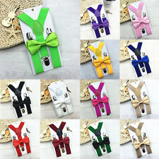 Kids New Design Suspenders and Bowtie Bow Tie Set Matching Ties Outfits DEGS