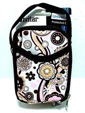 Universal Digital Camera Case / Bag With Strap Pink & Brown Floral Design - NEW