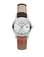 Burberry Women's Swiss Silver Tone The City Housecheck Fabric Strap Watch BU9151
