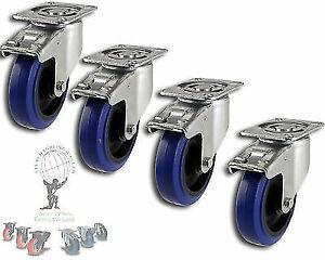 """HEAVY DUTY Flight Case Castors: 4"""" Blue Wheels, FREE SHIPPING (Caster Wheels)"""