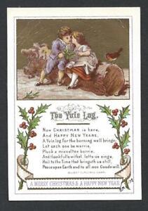 Y34 - COUPLE SITTING ON YULE LOG - 1872 - GOODALL - VICTORIAN XMAS CARD