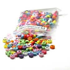 200 Assorted Color Greek Alphabet 7mm Flat Round Plastic Acrylic Letter Beads