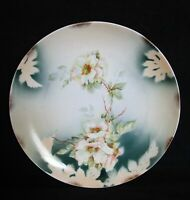 EXCEPTIONAL HAND PAINTED WEIMAR PORZELLAN GERMANY CABINET PLATE WILD ROSES