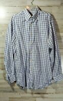 Peter Millar Mens Long Sleeve Button Down Shirt  M Blue White Checkered