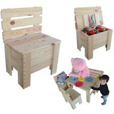 Kinderstuhl Holzstuhl Gartenstuhl Spielzeugkiste Kindersitz Truhe aus Holz e*
