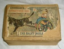 ANTIQUE RARE EARLY LEHMANN BALKY MULE IN BOX WITH ORIGINAL PAPER INSTRUCTIONS