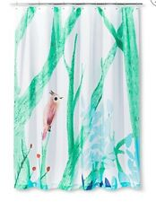 AiR Artist In Residence Green Aqua Uccellino Bird Branch  Shower Curtain Nwop