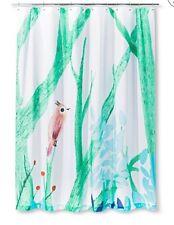 AiR Artist In Residence Green Aqua Uccellino Bird Branch  Shower Curtain Nwop
