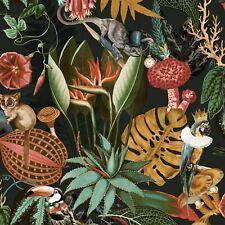 Wonderland Tropical Wallpaper Black Holden 91193 Colourful Animals Flowers
