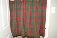 Red and Hunter Green Plaid Tier Curtains--2