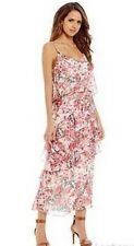 Gianni Bini Womens Floral Dress Size L Pink Chiffon V-neck Sleeveless MSRP $120