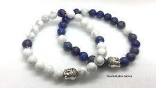 Couple pair Buddha bracelets Lapis Lazuli & Howlite Gemstone Bead stone Bracelet