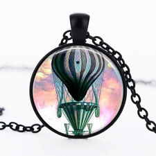 Hot Air Balloon Black Dome Glass Cabochon Necklace chain Pendant #248