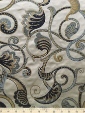 Drapery Upholstery Fabric Medium Weight Textured Jacquard Leaves Vines - Indigo