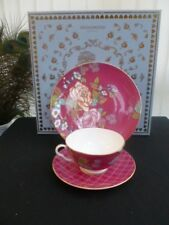 "WEDGWOOD TEA GARDEN RASPBERRY 3 PIECE SET 8"" PLATE AND CUP & SAUCER *BOXED*"