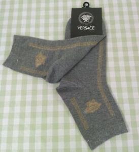 Versace Men Women Middle Tube Socks Gray One Pair