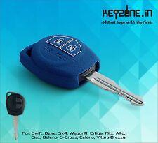 KeyZone Silicone Key Cover for Suzuki Swift, Dzire, SX4, Ertiga, WagonR (Blue)