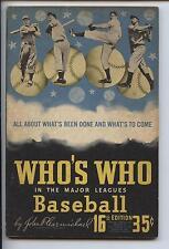 1948 Who's Who in Major League Baseball by John Carmichael VGEX+
