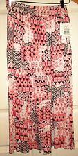 New Joey B Women jr sz XL midi long skirt white pink red black elastic waistband