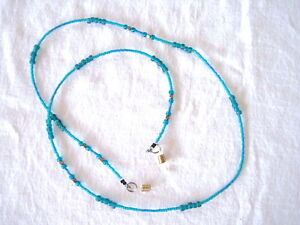 Teal/Turquoise n Silver Beaded Lanyard or Eye Glass Holder 30""