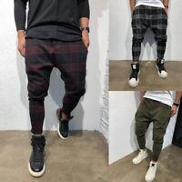 Men's 3D Plaid Tartan Lattice Skinny Trousers Slim Fit Stretch Pencil Pants New
