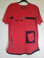 Men's 8ighth Dstrkt Red Black Pocket Shirt Size L