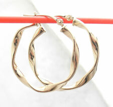 """Earrings Real 10K Yellow Gold 1"""" Fashion Polished Twisted Round Hoop"""