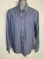 MENS BEN SHERMAN BLUE TAILORED SKINNY FIT BUTTON LONG SLEEVE FORMAL SHIRT 15.5""