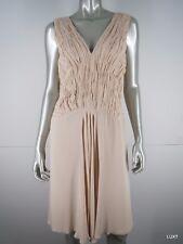 Red valentino Dress 12 L 48 Blush Pink Silk Ruched Sleeveless V-neck Smocked