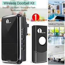 1byone Wireless Doorbell Door Chime Kit 1 Plug-in Receiver & 1 Push Button Chime
