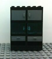 LEGO 2 qty NEW Black Containers Cupboard w// White Drawers