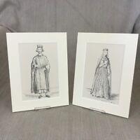 1842 Antico Impronte King John Queen Isabel Costume Tessuto Storia Moda