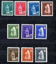 CROATIA GERMAN PUPPET STATE 1943 RED CROSS SET SCOTT B42-B51 PERFECT MNH