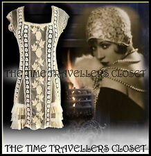 TOPSHOP ANTIQUE VINTAGE CREAM BEIGE CROCHET LACE DRESS 20s FLAPPER 70s BOHO UK12