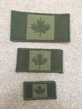 "Canadian Flag Patch 2x1"". Canadian Army Green. Hooks Backing. Small."