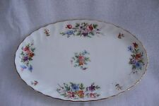 A 1st QUALITY MINTON MARLOW BONE CHINA OVAL TRAY DISH - WHITE FLORAL & GILT RIM