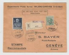 Italy: 1925 first flight Milan - Geneva (pilot: M. Nappez, France), cat. EUR 125