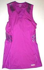Womens Reebok V Neck Sleeveless Top L Slim Play Dry Easytone Tank Purple Bands