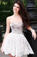 Sherri Hill White Lace Rhinestone Pearl Short Dress Gown Prom Kendall Jenner 6