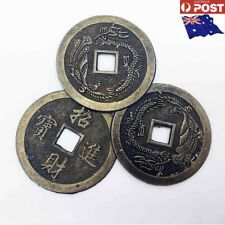 New 3 x Large Feng Shui Coins 4.5cm Lucky Ancient Chinese Fortune Coin Bronze-AU
