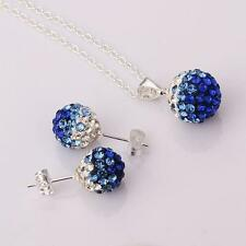 925 Sterling Silver Blue Crystal ball Shambala Necklace And Earing Jewellery Set